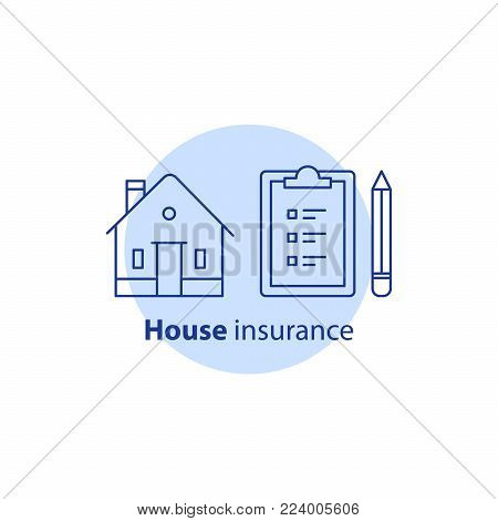 House insurance policy, maintenance service, home improvement and remodeling concept logo, residential building renovation, clipboard with checklist and pencil, real estate ownership, vector line icon