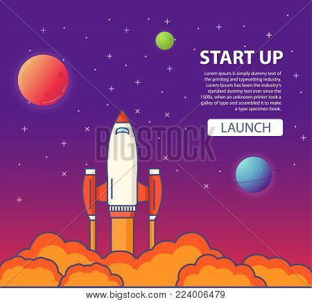 Start up of business.Start of a space rocket in flight. A concept of design of a banner for the websites,mobile applications.Spacecraft launch flies in space among planets. Travel to other worlds