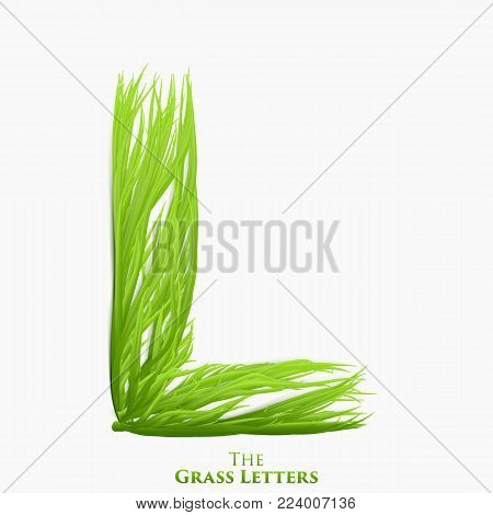 Vector letter L of juicy grass alphabet. Green L symbol consisting of growing grass. Realistic alphabet of organic plants. Spring and ecology typeset illustration