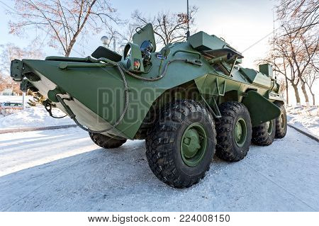 Samara, Russia - January 27, 2018: The unified command-staff vehicle R-149MA1 of russian army based on the BTR-80
