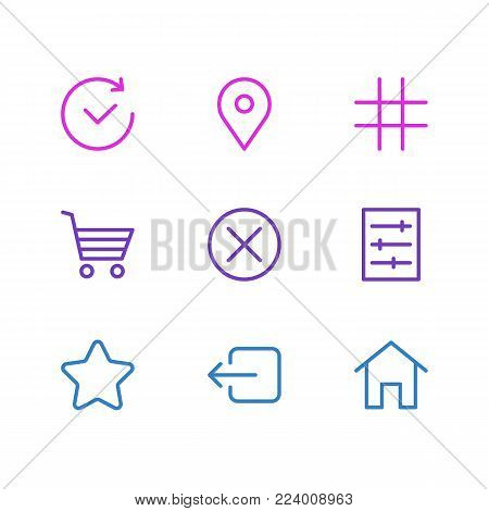 Vector illustration of 9 application icons line style. Editable set of pinpoint, locked, rating and other icon elements.