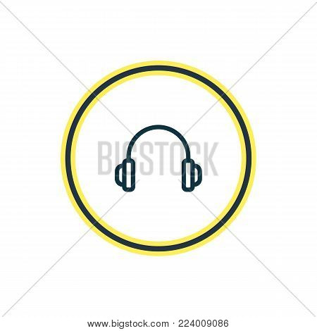 Vector illustration of headphone icon line. Beautiful hobby element also can be used as earphone icon element.