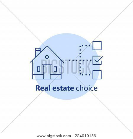 Real estate choice concept, choose house, buy property check mark option, tick box, insurance policy, vector line icon
