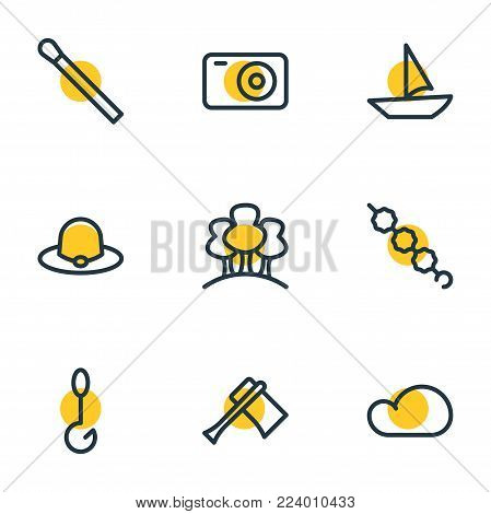 Vector illustration of 9 camping icons line style. Editable set of tree, hook, candy icon elements.