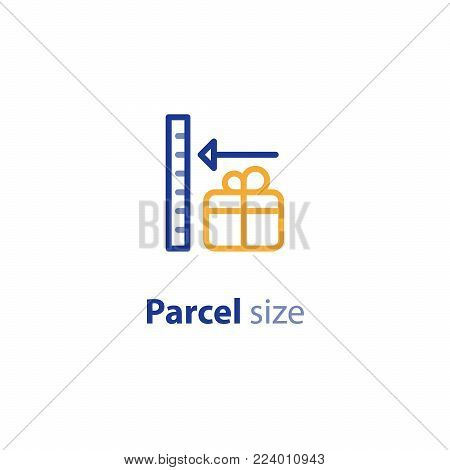 Delivery services, shipping parcel size and weight, shipment options, vector line icon set