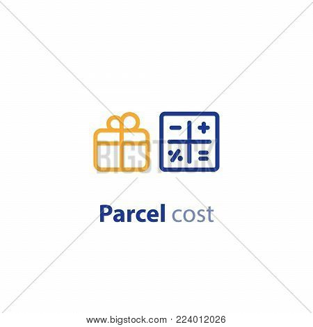 Delivery calculation services, shipping parcel, shipment options, vector line icon set