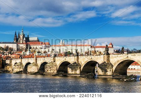 Charles Bridge, Prague Castle and Cathedral of St. Vitus, Prague.