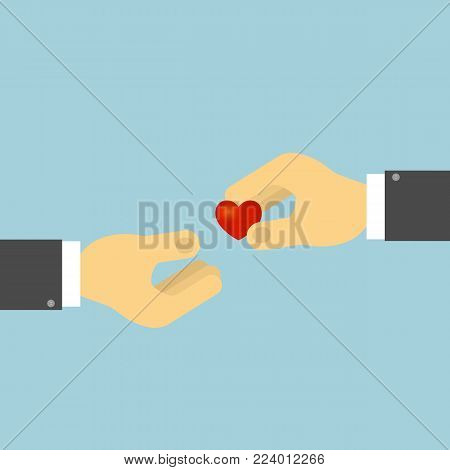 The hand holds the human heart. The concept of organ donation, heart transplant. Vector illustration .