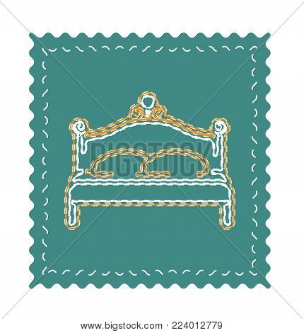 Classic royal bench vector. Bench icon with neon ornaments.