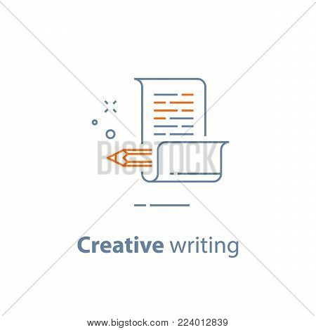 Creative writing, storytelling concept, pencil and paper, copywriting, vector line icon