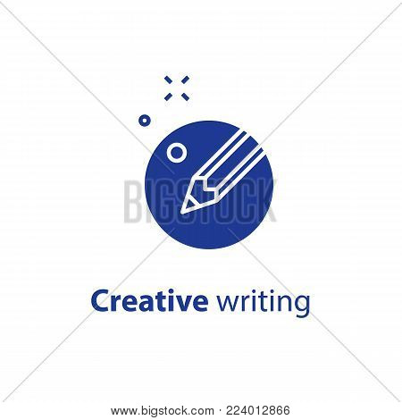 Content writing, creative storytelling concept, pencil in circle, copy writing, vector flat design icon