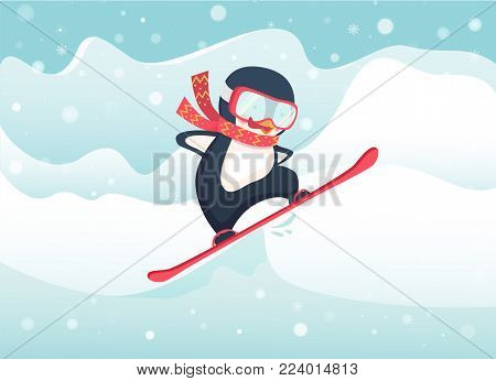 Penguin snowboarder at jump. Penguin cartoon vector illustration.