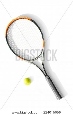 Tennis. Tennis ball and racket the white background. Isolated. Sport