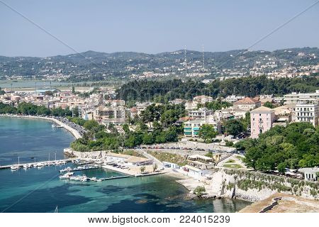 View from Old fortress on the capital of the island of Corfu. Greece