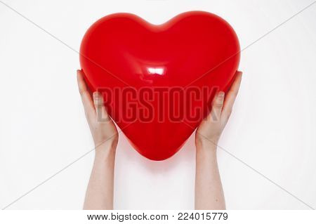 Red Heart In Hands, Isolated On White. Happy Valentine's Day Concept. Healthcare, Medicine And Blood