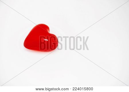 Red Heart Isolated On White. Happy Valentine's Day Concept. Red Heart Balloon In Air. Healthcare, Me