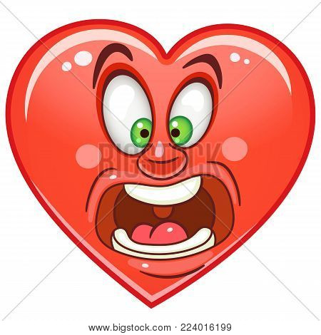 Cartoon red Heart Scream. Emoticon. Smiley. Emoji. Fear Emotion symbol. Design element for Valentines Day greeting card, kids coloring book page, t-shirt print, icon, logo, label, patch, sticker.