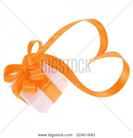 present box with ribbon isolated on white background