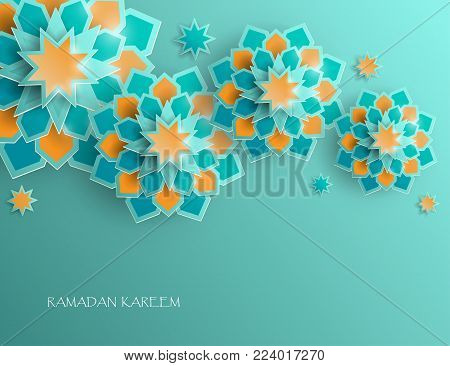 Greeting card with intricate Arabic paper graphic of Islamic geometric art. Ramadan Kareem is the name of the glorious month of Ramadan. Muslim community festival