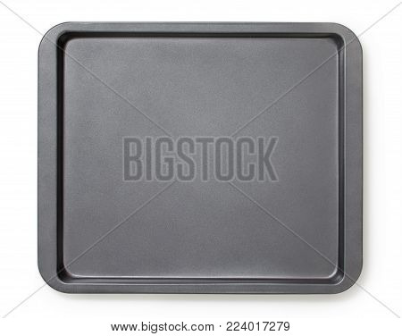 Square baking tray with non-stick coating, top view, close-up.