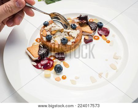 tasting dessert cakes food confectionery concept. delicious sweets. restaurant food.