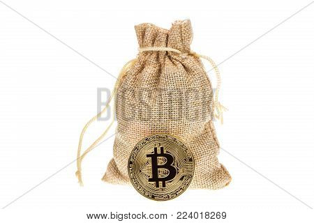 Bitcoin cryptocurrency near burlap sack isolated on white background. Crypto currency electronic money for web banking and international network payment