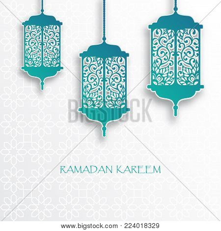 Paper graphic of islamic lantern. Islamic decoration. Ramadan Kareem - glorious month of Muslim year. Modern 3d paper cut concept