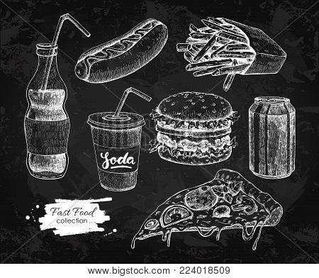 Fast food vector hand drawn set. Blackboard junk food illustration.  Burger, hot dog, pizza, french fries and soda drawing. Great for label, menu, poster, banner, voucher, coupon, business promote