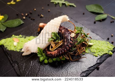 gourmet seafood luxury restaurant concept. proper nutrition lifestyle. asian food delicacy.