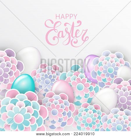 Happy Easter elegant floral background with 3d paper flowers eggs and place for text. Spring easter greeting card. Origami trendy design template. Paper cut spring flower holiday texture in pastel colors. Vector illustration