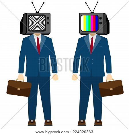 TV on head man. Television propaganda, fake news. Businessman character, vector.