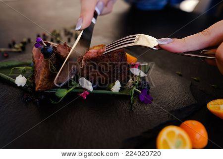 tasting exotic restaurant gourmet food concept. thailand traditional cuisine. delicious delicacy.