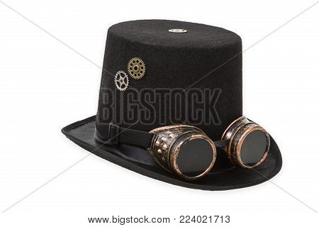 Steampunk hat isolated on white background. Shot in Studio.