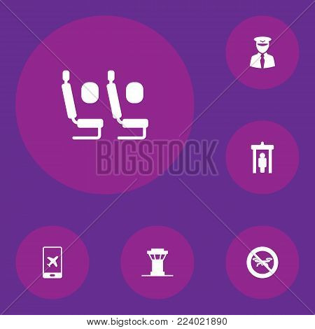Set of 6 aircraft icons set. Collection of control tower, e-ticket, economy class and other elements.