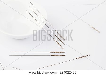 Acupuncture needles. Silver needles for traditional Chinese medicine acupuncture. Close-up.