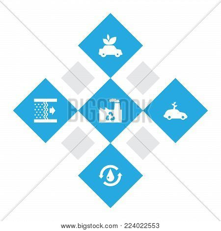 Set of 5 ecology icons set. Collection of air, ecology, recycling plant and other elements.