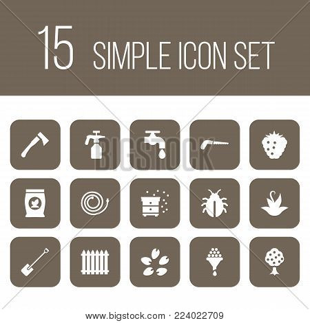 Set of 15 farm icons set. Collection of wine-making, hedge, fertilizer and other elements.