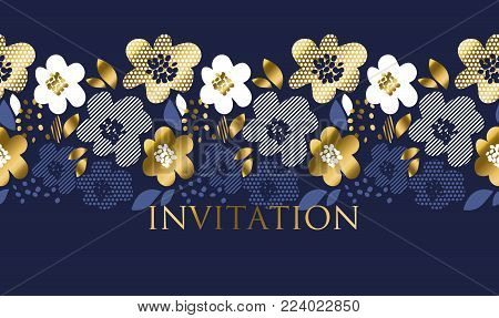 Luxury concept floral pattern with geometric texture in deep blue and gold color. Abstract spring blossom for header, cards, invitation, web and print surface design.