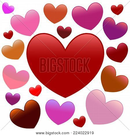 Many colourfull hearts over white, vector illustration