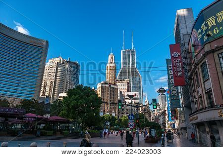 Shanghai, China -November 5, 2017:Shopping street in Nanjing Road. Nanjing Road is the main shopping street in Shanghai and one of the world's busiest commercial streets.