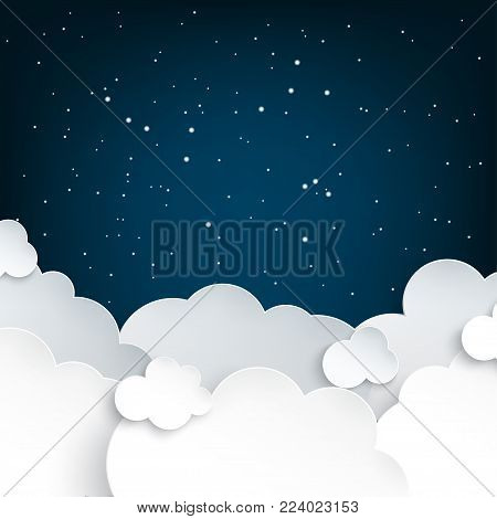 Paper art fluffy clouds and stars in midnight. Modern 3d origami paper art style. Vector illustration, dark night sky