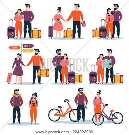 Set of young couple travelling. Bicycle travel, with suitcases and map. Man and woman are ready and prepared for any journey. Two people with backpacks. Different types of trips. Vector illustration