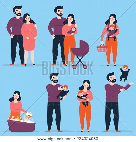 Young heterosexual couple in different family situations. Man and woman with baby and carriage, lady carry her child in slingshot, bathing her baby. Male throws kid up int the air. Vector illustration