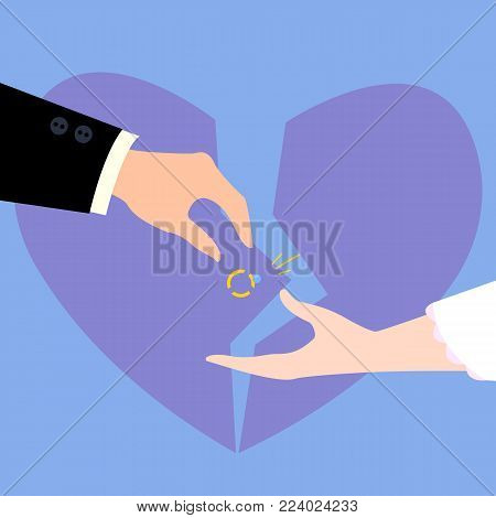 Divorcement of married couple. Broken diamond ring, broken to pieces heart. Man and woman in wedding suites. Two hands and martial divorce concept. Flat vector illustration