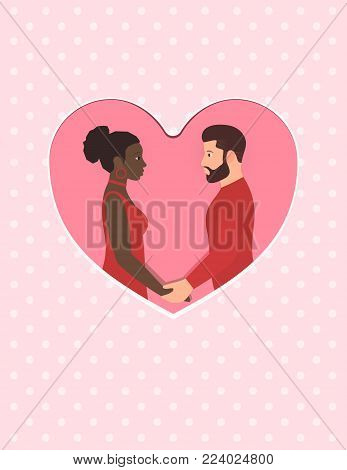 Bearded white man and beautiful afro American woman. Happy multiracial couple in love, holding hands and looking into each others eyes. Greeting card for Happy Valentines day. Wedding or anniversary