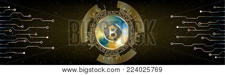 Golden Futuristic Bitcoin concept. HUD space cosmic background with numbers and lines. Banner, brochure, technological lines. Digital Cryptocurrency. Vector. Technology style dark abstract design.