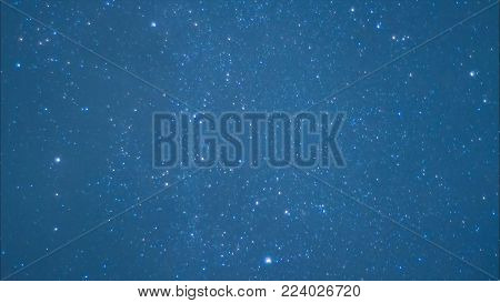 Beautiful Night Sky And Stars With Meteor Or Shooting Star As Background. Video. Animation Of A Star