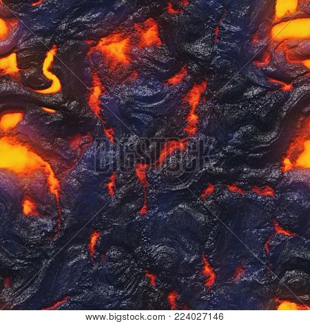 Burning coals- hot surface. Abstract natural pattern- glow faded flame.