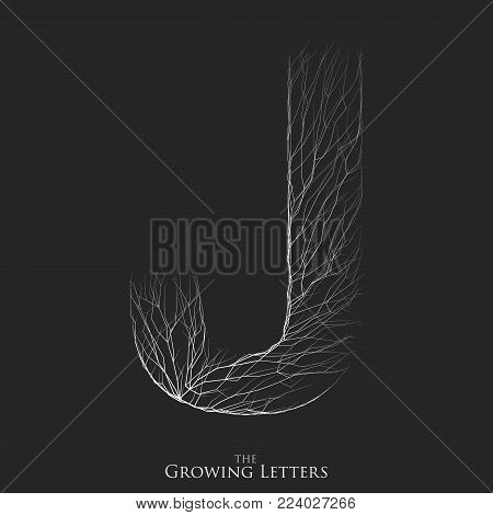Vector letter J of branch or cracked alphabet. J symbol consisting of growing white lines. Fractured letters. Lighting silhouet of capital letters. Abstract font