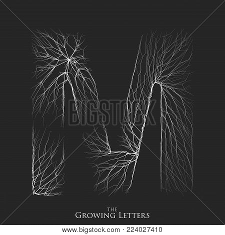 Vector letter M of branch or cracked alphabet. M symbol consisting of growing white lines. Fractured letters. Lighting silhouet of capital letters. Abstract font